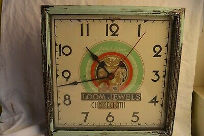 Crystal Mfg Hammond Art Deco Loom Jewels Cheesecloth Advertising Wall Clock Rare