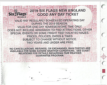 Six Flags New England - one (1) Good any day ticket 2019