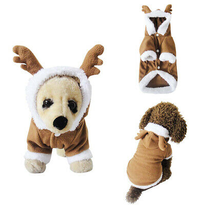 Pet Puppy Dog Christmas Clothes Reindeer Costume Outwear Coat Apparel Hoodie
