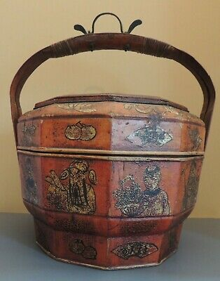 Antique Wood Chinese Asian Wedding Basket Food Rice Container Gold Gilding