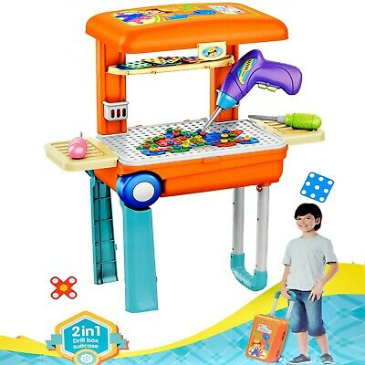 Kids Workbench Toddler Tool Bench Workshop Toy Set Construction Box - 142 Pieces