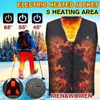 Electric Vest Heated Jacket USB Thermal Warm Heated Pad Winter Body Warmer@