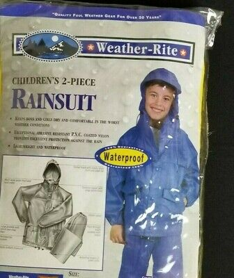 Weather-Rite Childs Rain Gear 2 Piece BLUE Hooded Rain Suit Size Large 16-18