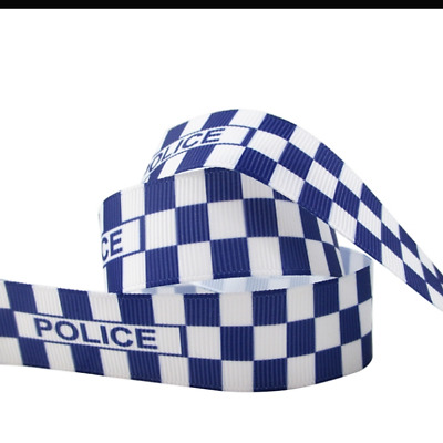 """Police Blue and white chequered Ribbon 1m long 7/8"""" wide"""
