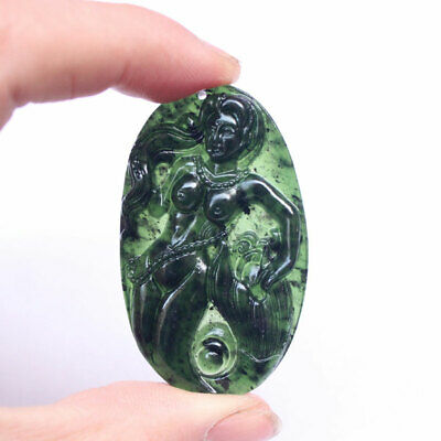 Hand-Carved Mermaid Chinese Natural Black Green Jade Pendants Lucky Amulet Gifts