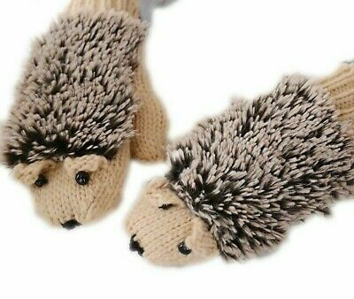 Winter Gloves Knit Women Mittens Warm Thick Cute All-Fingers Hedgehog Patterned