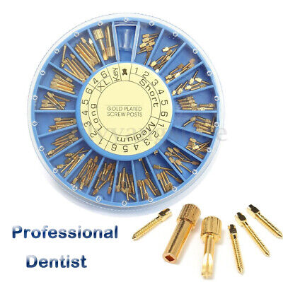 120x Dental Conical Screw Post + 2x Key Kit 24K Gold Plated Tapered sET