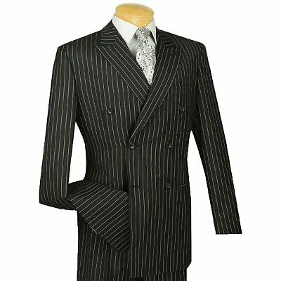 Mens Black Pinstripe Double Breasted 6 Button Classic Tailored Fit Suit New Man