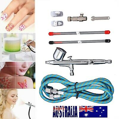 Air Brush Dual Action Spray Gun Airbrush Kit 0.2/0.3/0.5mm Needle Art Set Kit AU