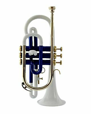 NEW BEST- HARD CHEAPEST CORNET Bb PITCH BLUE + WHITE LACQUER;