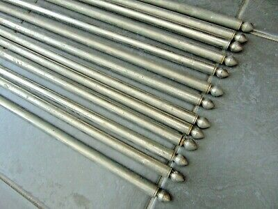 "Set 13 Reclaimed Vintage French 25"" Chromed Silvered Carpet Stair Rods"