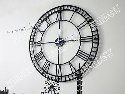 80Cm Extra Large Roman Numerals Skeleton Wall Clock Big Giant Open Face Round Eo