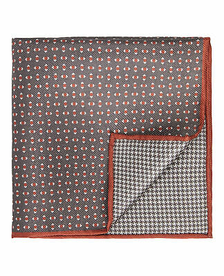 T.M.Lewin Mens Grey and Orange Micro Geometric Silk Double Faced Pocket Square