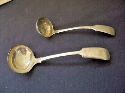 Antique silver plate PAIR of small sauce LADLES, 1 with drainage holes