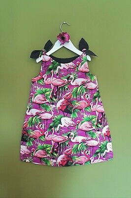 Kids Girls Purple Black Flamingo Patterned Dress Tunic Bow Straps up to 9 Years