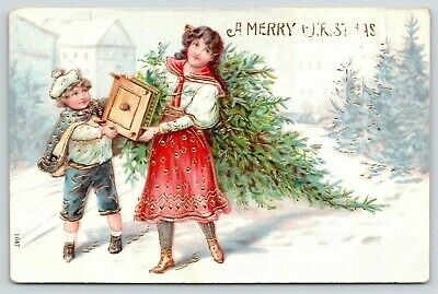 Victorian Christmas~Little Brother & Big Sister Drag Tree~Snowy Street~Gold Leaf