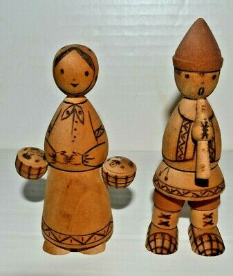 Vintage Man (Playing Flute) and Woman ( Holding Drums) Carved Wood Figurines