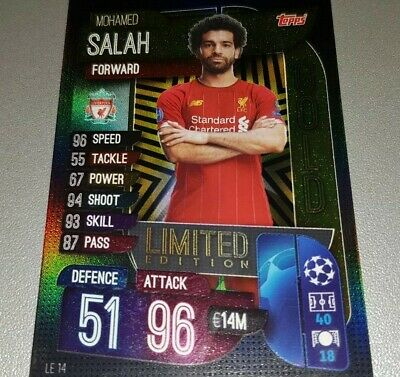Card Match Attax Topps 2019/20 Liverpool Salah Gold Limited Champions League