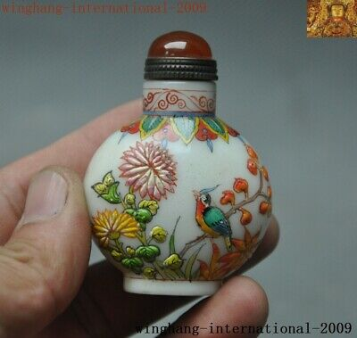 Marked Chinese palace dynasty glass Hand Painted flower bird snuff bottle statue