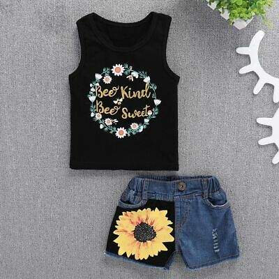 Outfits Sleeveless Kids Baby Girl Clothes T-shirt Tops Jeans Shorts Sunflower