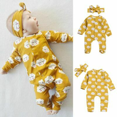 Girl Clothing Cotton Long Sleeve Infant Baby Outfits Romper Jumpsuit+Headband