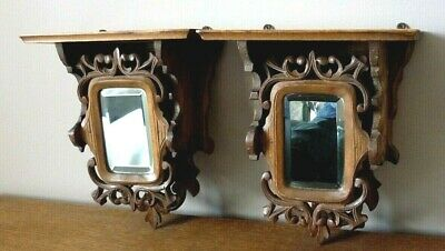 Victorian Pair Of Black Forest Carved Wooden Mirrored Hanging Shelves