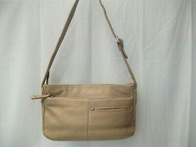 TULA Beige genuine leather small shoulder bag VGC