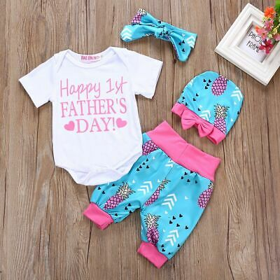 Kids Child Tops+Pants+Headband+Hat Father's Day Bow Knot Letter Pineapple Print