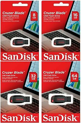 SanDisk 8GB 16GB 32GB 64GB Cruzer Blade USB 2.0 Flash Memory Stick Pen Drive UK#