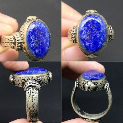 Wonderful  lapis lazuli old stone silver plated lovely ring
