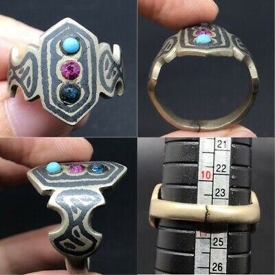 Wonderful rare ancient old afghan menakari type ring with old glass stones