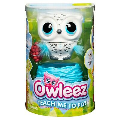 White Owleez Flying Baby Owl Interactive Toy for Kids Lights Sounds built-in USB