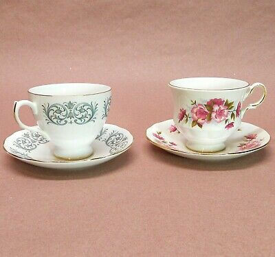 Queen Anne Fine Bone China – Late 1960s-Mid'70s - Duo of Tea Cups/Saucers – XLNT