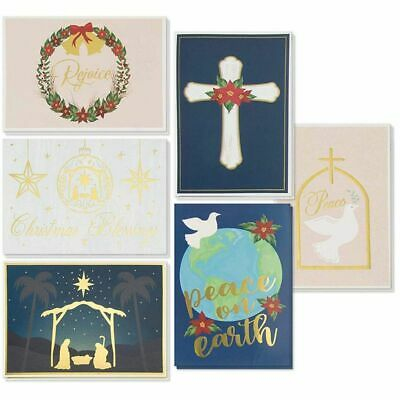 48-Pack Religious Christmas Cards Box Set - 6 Gold Foil Designs with Envelopes