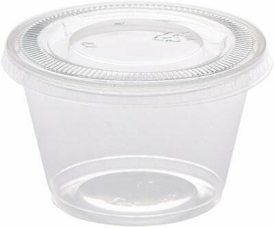 250pk Plastic Disposable Portion Cups with Lids 4oz Clear Disposable Jello Cups