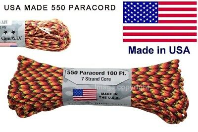 550 lb paracord parachute cord Mil Spec Type III 7 Strand 100' Core Made In USA