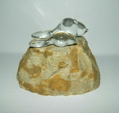 Vintage Blown Glass Beaver Mom & Baby on Rock stone Sculpture Art Display Figure