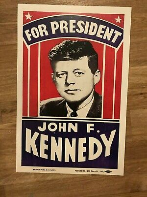 John F. Kennedy JFK for President Campaign Poster Sign