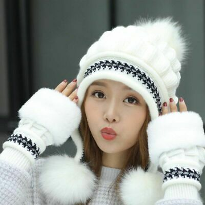 Ladies Winter Gloves Hats Thick Warm Head Hand Warmer Mittens Caps Accessory New