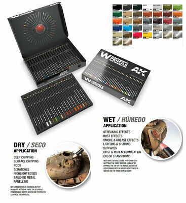 AK-Interactive Weathering Semi Grease Water Pencils Box (37 colours)