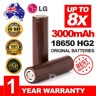 Up 8X LG HG2 18650 3000mAh 20A HIGH CURRENT rechargeable Lithium batteries LGHG2