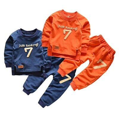 Toddler Baby Boys Girls Sweatshirt+Pants Sport Tracksuit Outfit Clothes Set 1-5Y