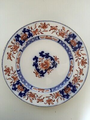 Japanese Imari Plate White Blue Red Floral Antique