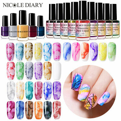 NICOLE DIARY 6/15ml Watercolor Blooming Nail Polish Marble Ink Varnish Gel Nail