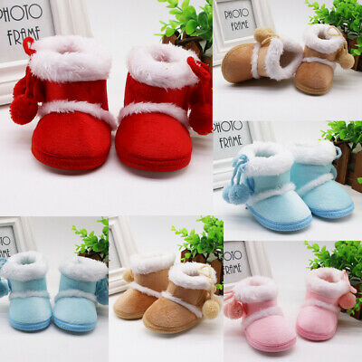 Infant Newborn Baby Girls Cashmere Plush Winter Boots Bandage Warm Booties Shoes