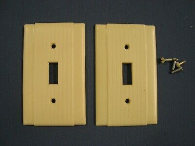 VTG 2 UNILINE P&S BAKELITE Single Toggle SWITCH PLATE COVERS Ribbed IVORY screws