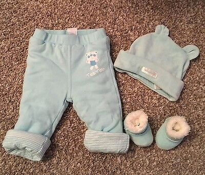 pumpkin patch warm, winter baby boy trousers, hat and booties size 0-3 months