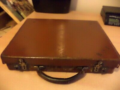 Old Antique Hard Case Brown Leather Luggage Briefcase Laptop Bag Retro