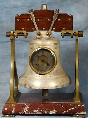 Rare Antique French Industrial Bronze And Marble Bell Clock Made For Cartier