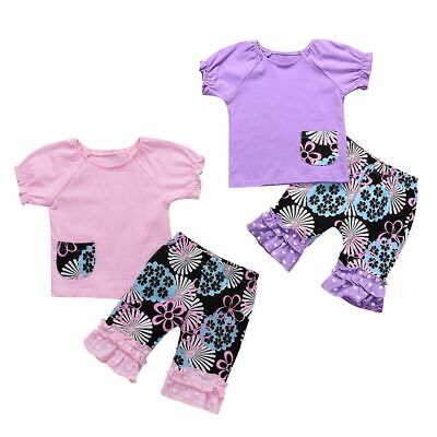 Infant Baby Girls Outfits Set Ruffle Cropped Pants Short Sleeve T-shirt Tops